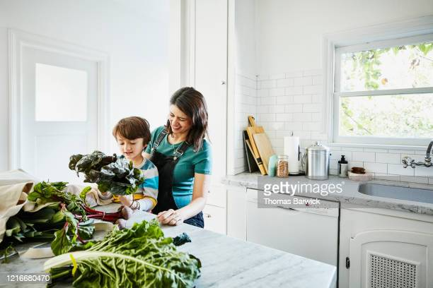 smiling young son sitting in pregnant mothers lap while looking at fresh vegetables in kitchen after shopping - organic stock pictures, royalty-free photos & images