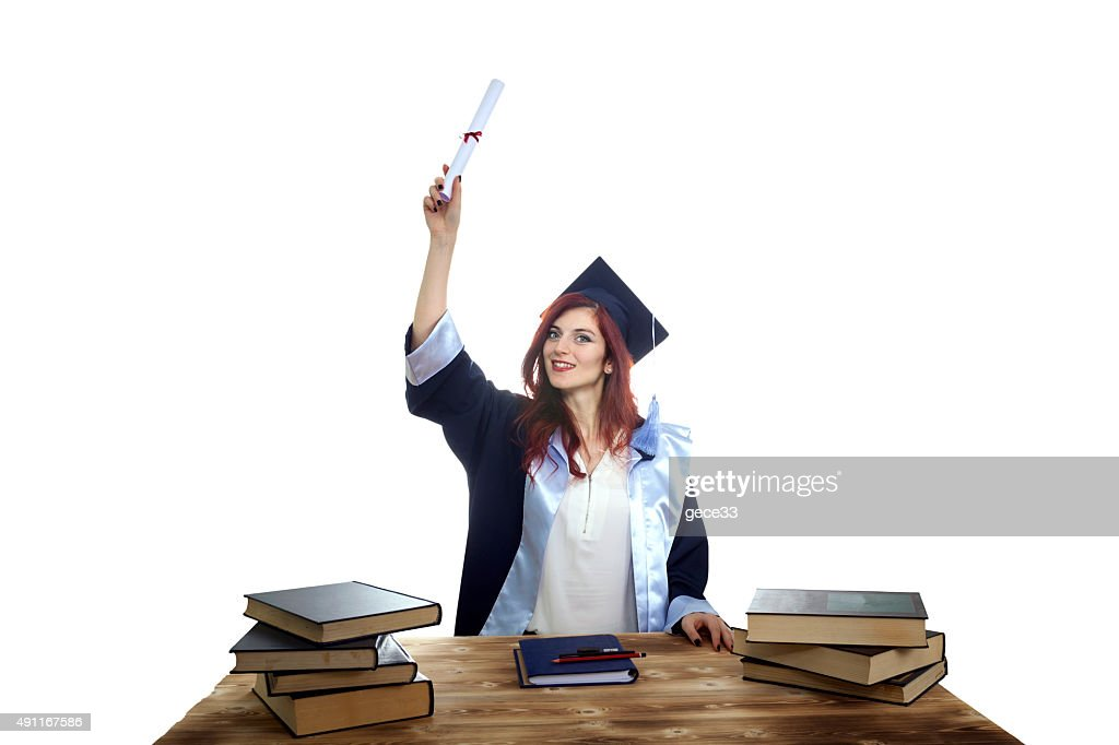 Smiling, young woman graduated : Stock Photo