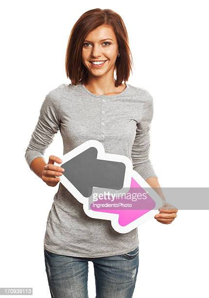 Smiling young woman holding data trade sign isolated on white.