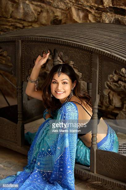 smiling young woman in sari - palanquin stock photos and pictures