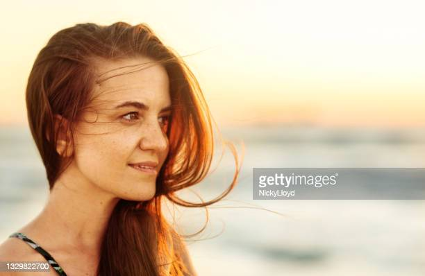 smiling young woman with her hair