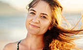 closeup portrait smiling young woman with