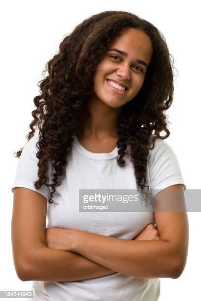 Lächelnde Junge Frau Taille aufwärts Porträt