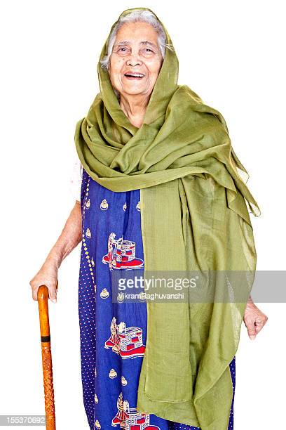 Smilingl Indian Senior Aged Woman with Walking Stick