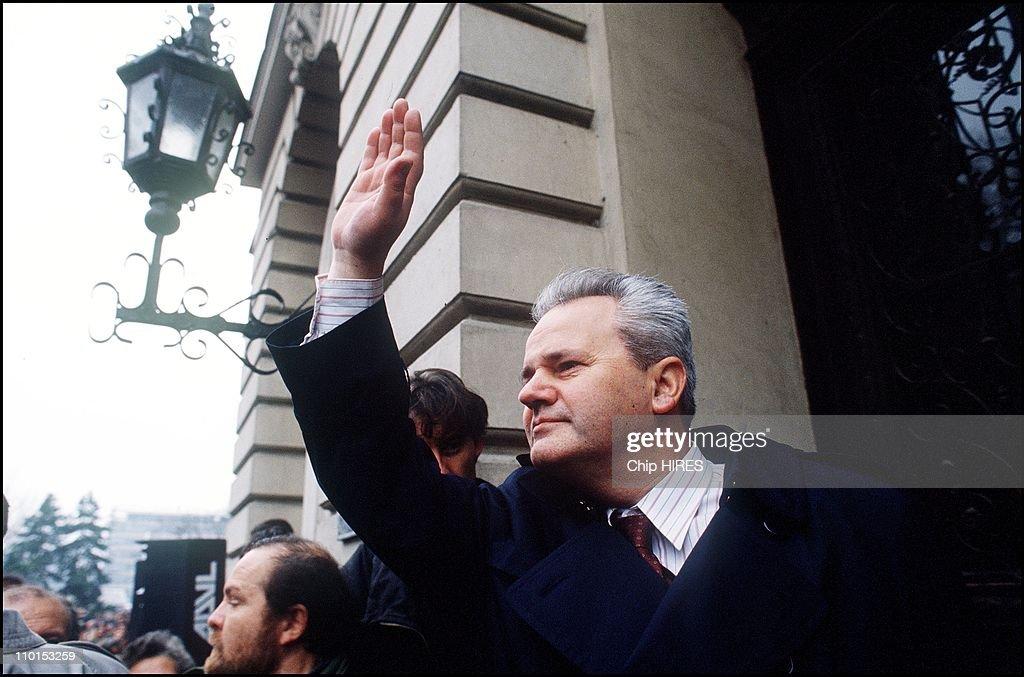 S.Milosevic in President Campaign in Krusevac, Montenegro on December 17, 1992. : News Photo