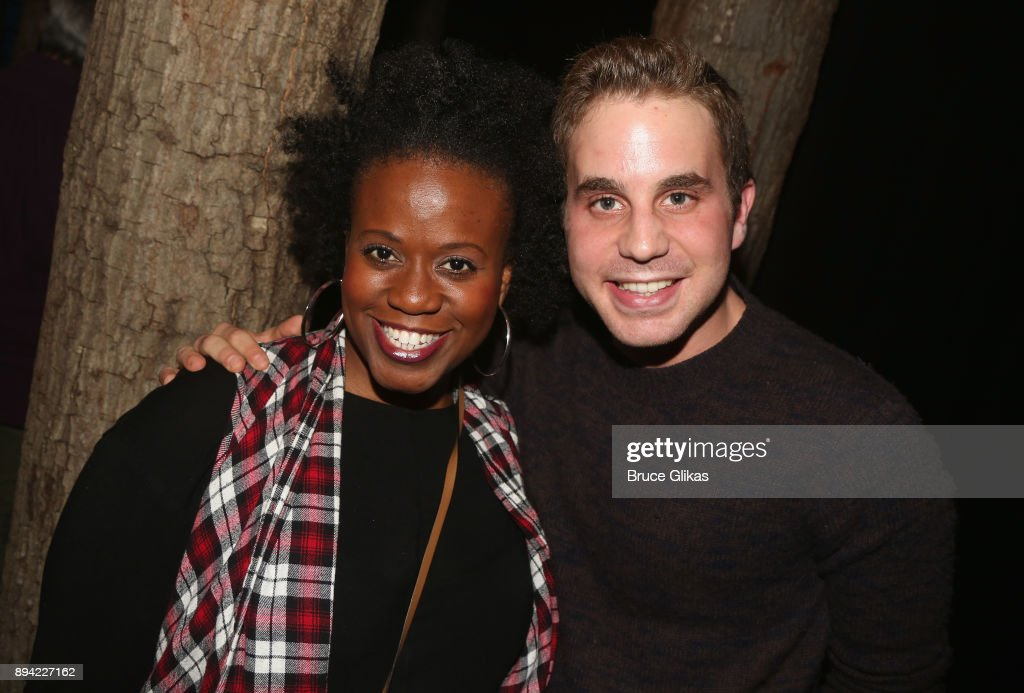 Q Smith and Ben Platt pose backstage at the hit musical 'Come From Away' on Broadway at The Schoenfeld Theater on December 16, 2017 in New York City.