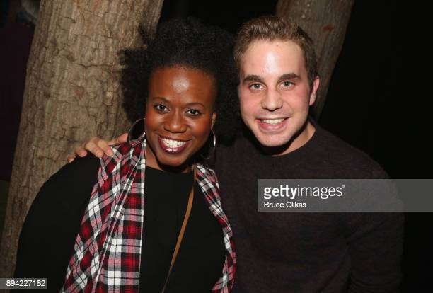 Smith and Ben Platt pose backstage at the hit musical 'Come From Away' on Broadway at The Schoenfeld Theater on December 16 2017 in New York City