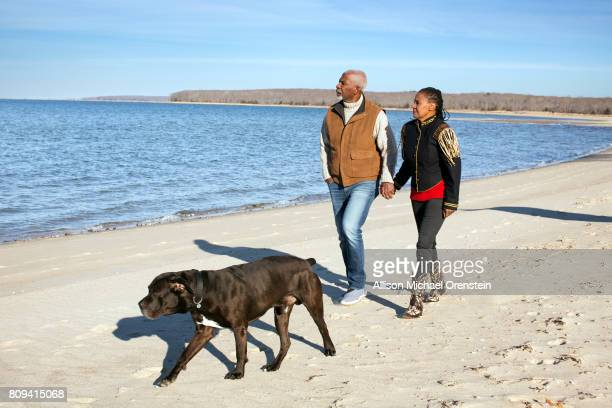B Smith and husband Dan Gasby are photographed with dog Bishop for People Magazine on December 20 2015 in Sag Harbor New York PUBLISHED IMAGE