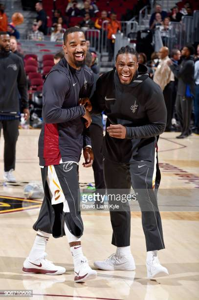 Smith and Jae Crowder of the Cleveland Cavaliers exchange hand shakes during warm ups prior to the game against the Orlando Magic on January 18 2018...
