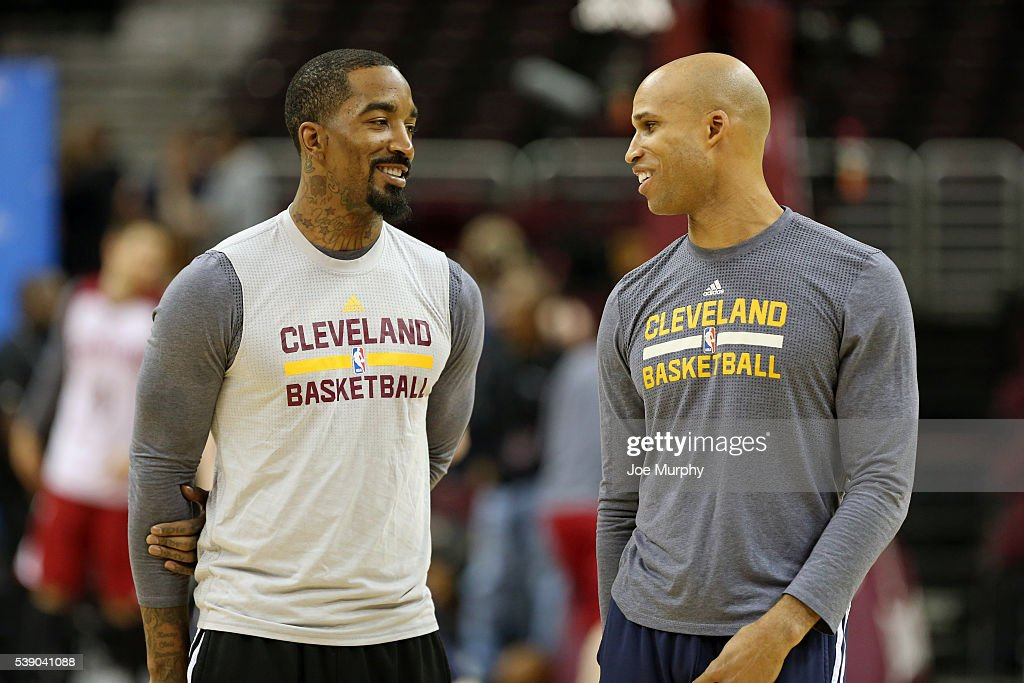 J.R. Smith #5 and Richard Jefferson #24 of the Cleveland Cavaliers during practice and media availability as part of the 2016 NBA Finals on June 9, 2016 at Quicken Loans Arena in Cleveland, Ohio.