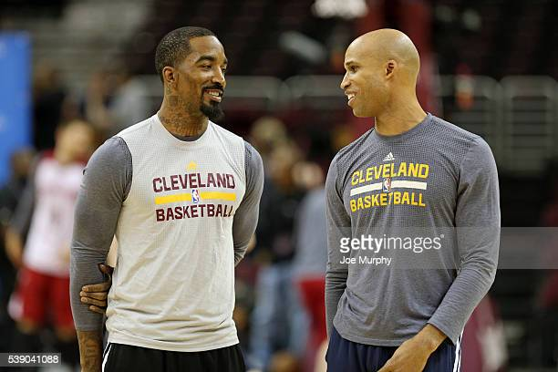 R Smith and Richard Jefferson of the Cleveland Cavaliers during practice and media availability as part of the 2016 NBA Finals on June 9 2016 at...