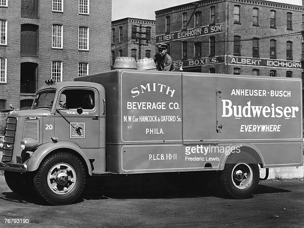 Smith Beverage Company lorry transports Budweiser around the United States, circa 1960.