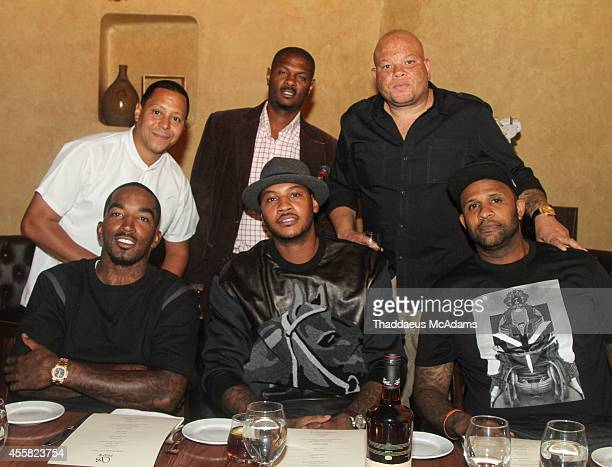 JR Smith Carmelo Anthony CC Sabathia Keenan Towns Kainon Jasper Shawn Costner Attend the birthday dinner for JR Smith at S Prime on September 9 2014...