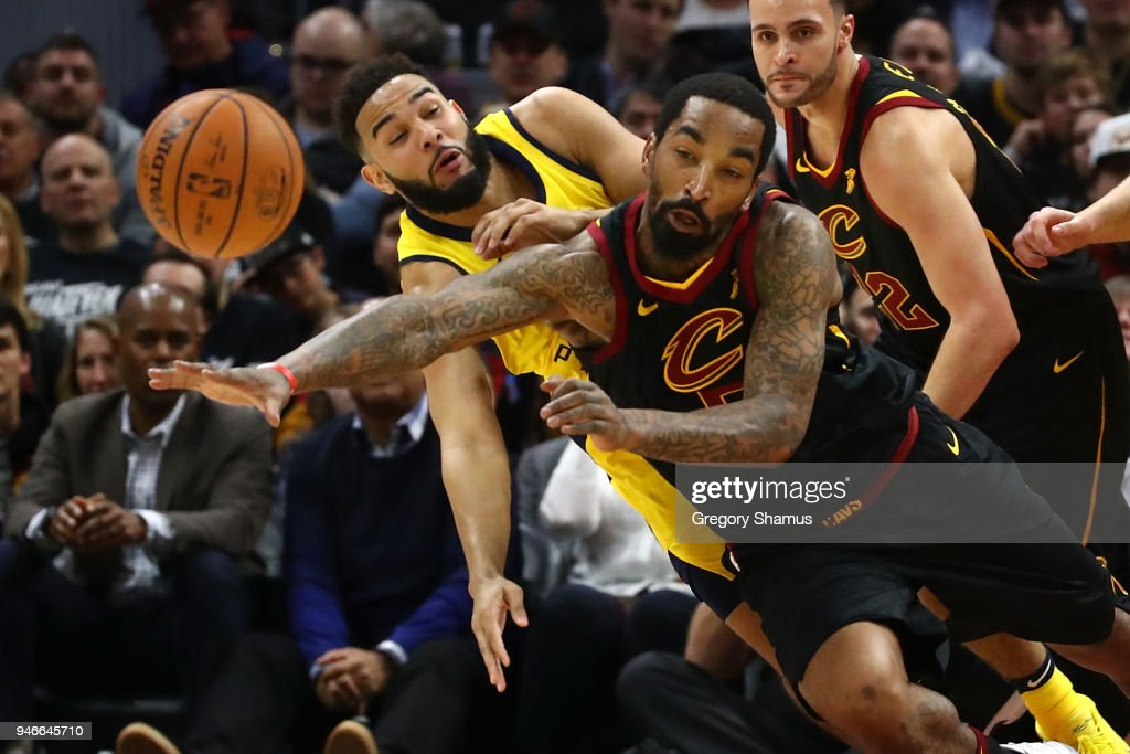 JR Smith #5 of the Cleveland Cavaliers and Cory Joseph #6 of the Indiana Pacers drive for a ball during the first half in Game One of the Eastern Conference Quarterfinals during the 2018 NBA Playoffs at Quicken Loans Arena on April 15, 2018 in Cleveland, Ohio.