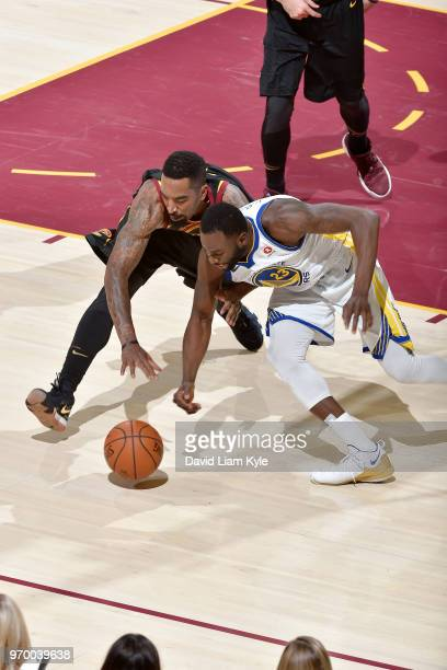 Smith of the Cleveland Cavaliers and Draymond Green of the Golden State Warriors jocks for the ball during Game Four of the 2018 NBA Finals on June 8...