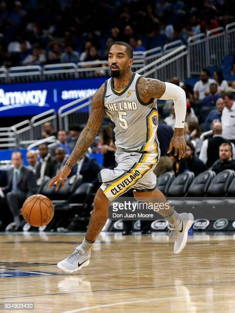 Smith of the Cleveland Cavaliers brings the ball up court during the game against the Orlando Magic at the Amway Center on February 6 2018 in Orlando...
