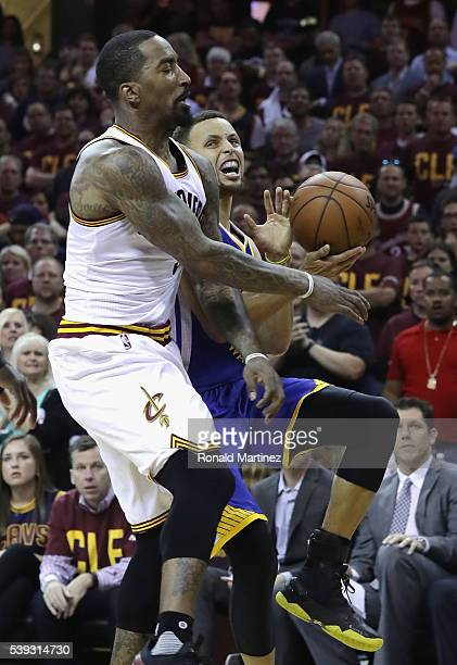 Smith of the Cleveland Cavaliers defends Stephen Curry of the Golden State Warriors during the first half in Game 4 of the 2016 NBA Finals at Quicken...