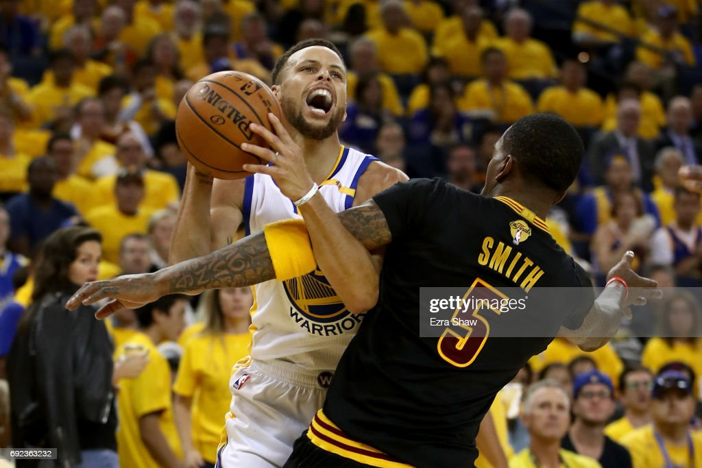JR Smith #5 of the Cleveland Cavaliers defends Stephen Curry #30 of the Golden State Warriors in Game 2 of the 2017 NBA Finals at ORACLE Arena on June 4, 2017 in Oakland, California.