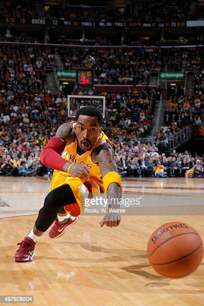 R Smith of the Cleveland Cavaliers dives after the ball against the Milwaukee Bucks on November 19 2015 at Quicken Loans Arena in Cleveland Ohio NOTE...