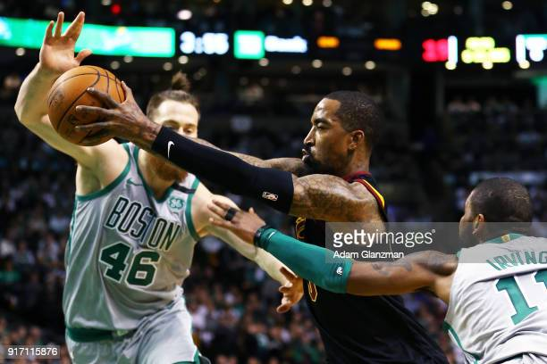 Smith of the Cleveland Cavaliers drives to the basket during a game against the Boston Celtics at TD Garden on February 11 2018 in Boston...