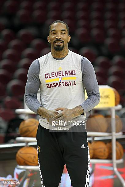 R Smith of the Cleveland Cavaliers during practice and media availability as part of the 2016 NBA Finals on June 9 2016 at Quicken Loans Arena in...