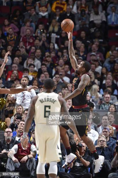 Smith of the Cleveland Cavaliers handles the ball against the Milwaukee Bucks on March 19 2018 at Quicken Loans Arena in Cleveland Ohio NOTE TO USER...