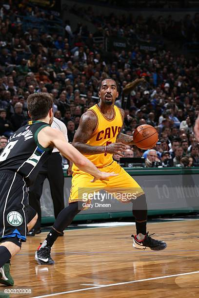 JR Smith of the Cleveland Cavaliers handles the ball during the game against the Milwaukee Bucks on December 20 2016 at the BMO Harris Bradley Center...