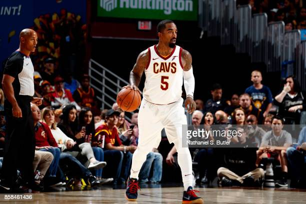 Smith of the Cleveland Cavaliers handles the ball during the preseason game against the Indiana Pacers on October 6 2017 at Quicken Loans Arena in...