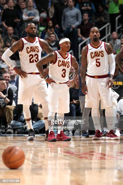 Smith of the Cleveland Cavaliers Isaiah Thomas of the Cleveland Cavaliers and LeBron James of the Cleveland Cavaliers look on during the game against...