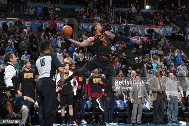 Smith of the Cleveland Cavaliers passes the ball against the Oklahoma City Thunder on February 13 2018 at Chesapeake Energy Arena in Oklahoma City...