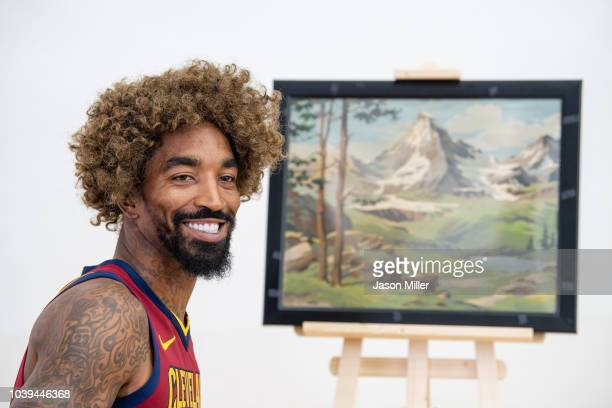 R Smith of the Cleveland Cavaliers poses as painter Bob Ross for Cavs social media on Media Day at Cleveland Clinic Courts on September 24 2018 in...
