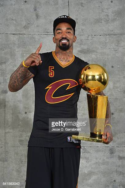 R Smith of the Cleveland Cavaliers poses for a portrait after winning the NBA Championship against the Golden State Warriors during the 2016 NBA...