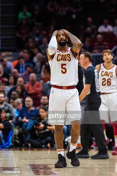 Smith of the Cleveland Cavaliers reacts after missing a shot during the first half against the Oklahoma City Thunder at Quicken Loans Arena on...