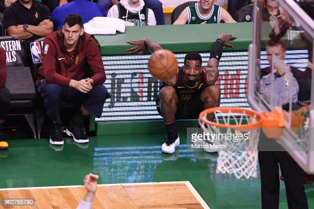 R Smith of the Cleveland Cavaliers reacts during the game against the Boston Celtics on Game Five of the 2018 NBA Eastern Conference Finals at TD...