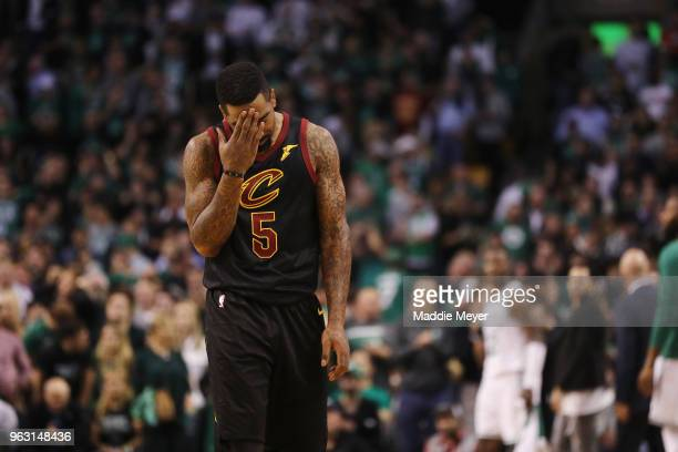 Smith of the Cleveland Cavaliers reacts in the first half against the Boston Celtics during Game Seven of the 2018 NBA Eastern Conference Finals at...