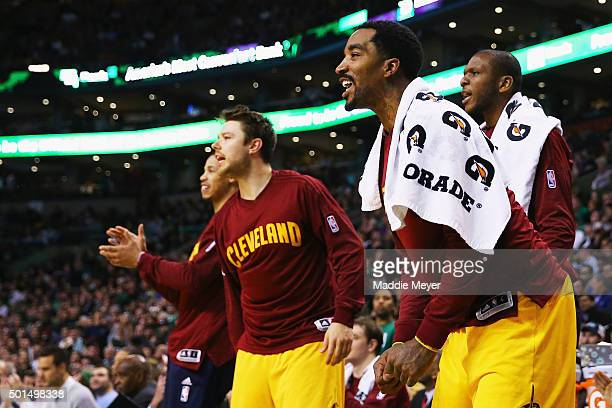 R Smith of the Cleveland Cavaliers reacts on the bench during the second quarter against the Boston Celtics at TD Garden on December 15 2015 in...