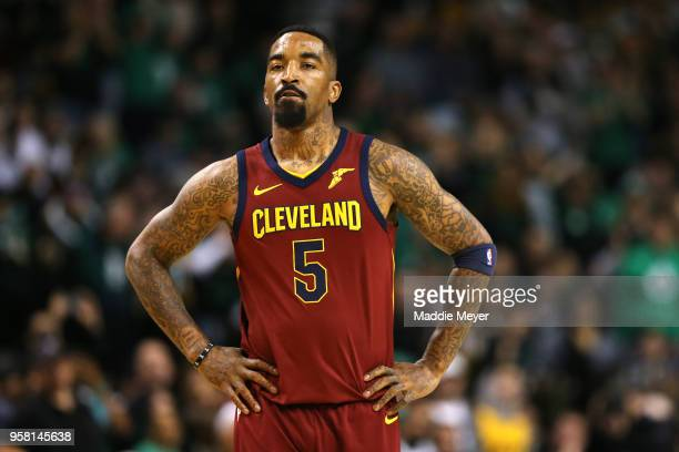 Smith of the Cleveland Cavaliers reacts to his teams deficit during the first quarter against the Boston Celtics in Game One of the Eastern...