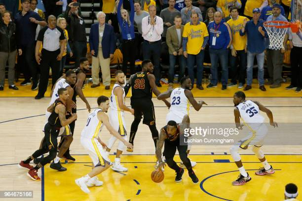 Smith of the Cleveland Cavaliers rebounds the ball after a free throw against the Golden State Warriors in Game 1 of the 2018 NBA Finals at ORACLE...
