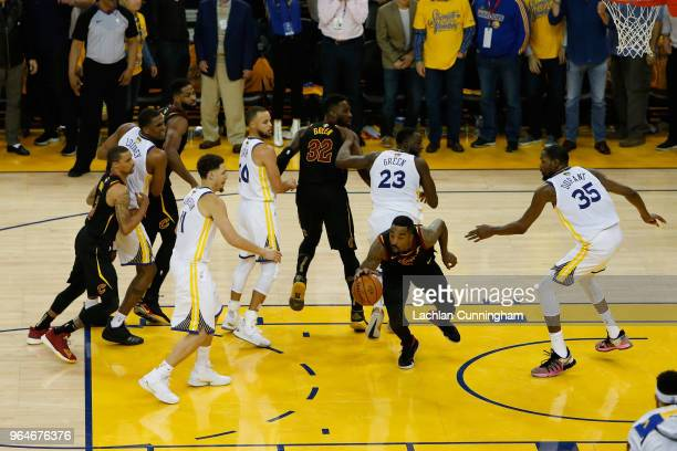 Smith of the Cleveland Cavaliers rebounds the ball after a free throw in the closing seconds against the Golden State Warriors in Game 1 of the 2018...