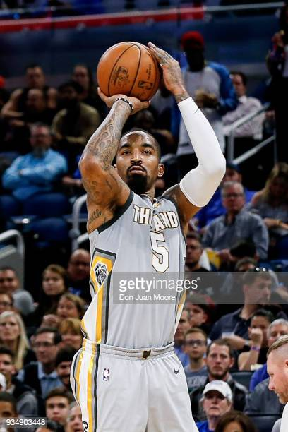 Smith of the Cleveland Cavaliers shoots a jumper during the game against the Orlando Magic at the Amway Center on February 6 2018 in Orlando Florida...