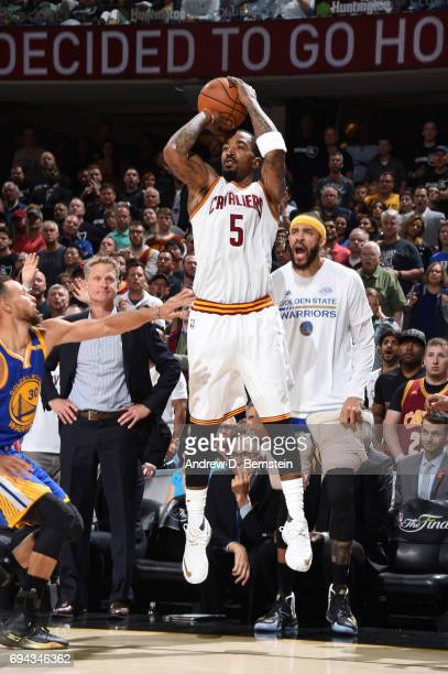 R Smith of the Cleveland Cavaliers shoots the ball against the Golden State Warriors in Game Four of the 2017 NBA Finals on June 9 2017 at Quicken...