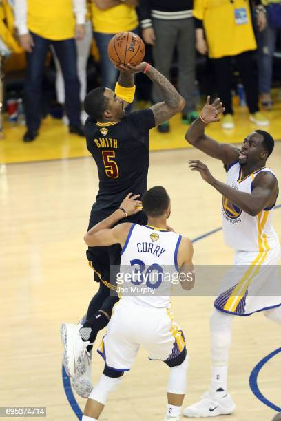 R Smith of the Cleveland Cavaliers shoots the ball against the Golden State Warriors in Game Five of the 2017 NBA Finals on June 12 2017 at ORACLE...