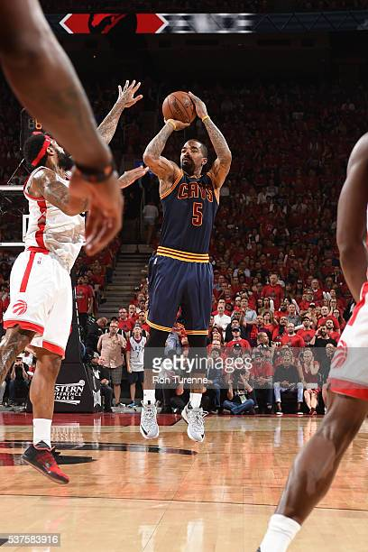 R Smith of the Cleveland Cavaliers shoots the ball against the Toronto Raptors during Game Six of the NBA Eastern Conference Finals at Air Canada...