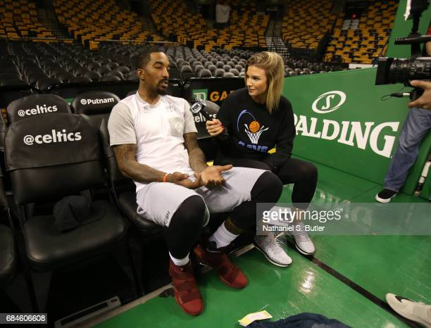 R Smith of the Cleveland Cavaliers speaks to the media during practice day of the Eastern Conference Finals of the 2017 NBA Playoffs on May 18 2017...
