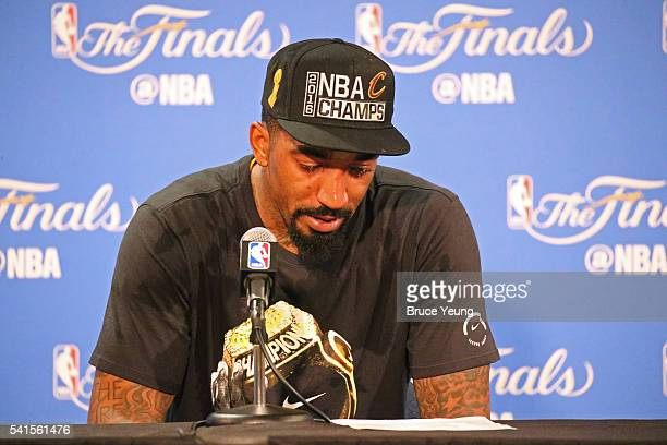 R Smith of the Cleveland Cavaliers talks to the media during a press conference after the 2016 NBA Finals Game Seven against the Golden State...