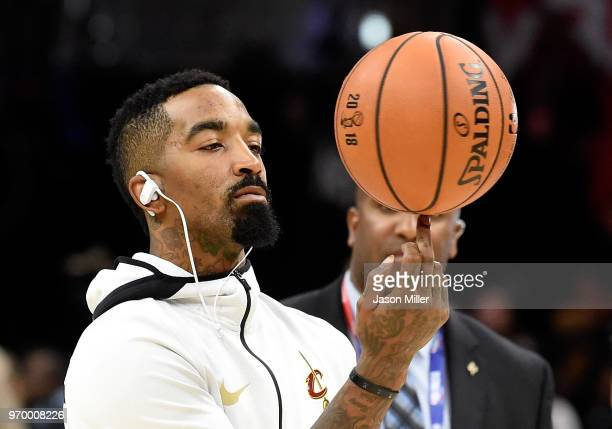 Smith of the Cleveland Cavaliers warms up before Game Four of the 2018 NBA Finals against the Golden State Warriors at Quicken Loans Arena on June 8...