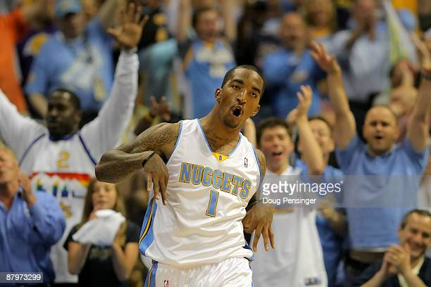 Smith of the Denver Nuggets reacts after making a three-pointer in the fourth quarter against the Los Angeles Lakers in Game Four of the Western...