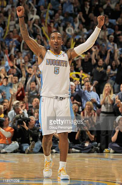 R Smith of the Denver Nuggets reacts after scoring against the Oklahoma City Thunder in Game Four of the Western Conference Quarterfinals in the 2011...