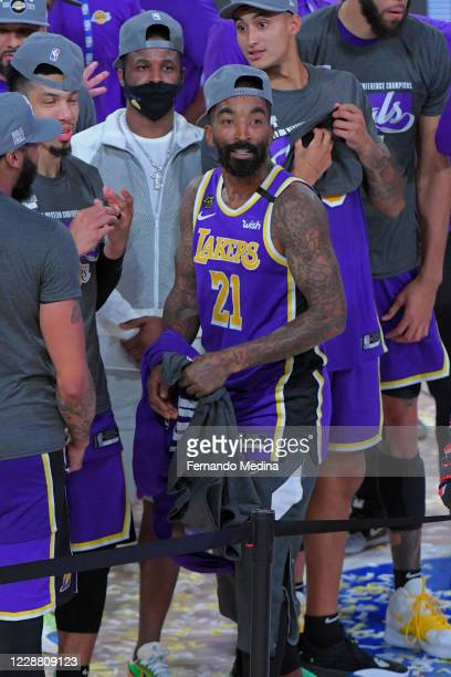 Smith of the Los Angeles Lakers celebrates after winning Game Five of the Western Conference Finals of the NBA Playoffs against the Denver Nuggets on...