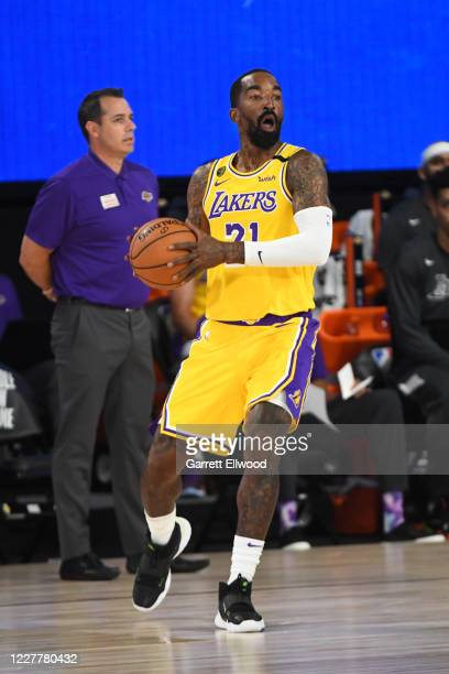 Smith of the Los Angeles Lakers looks to pass the ball against the Orlando Magic during a scrimmage on July 25, 2020 at HP Field House at ESPN Wide...